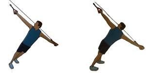Crossfit oefening: Katrol oefening 1: Rechter arm, borst draai