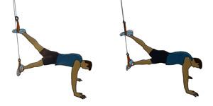 Crossfit oefening: Katrol oefening 2: 2 benen schaarbeweging (gezicht naar beneden)