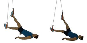 Crossfit oefening: Katrol oefening 3: 2 benen schaarbeweging (gezicht naar boven)