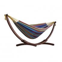 Combo - Dubbele katoenen hangmat met dennenhout boogstandaard (250cm) Tropisch