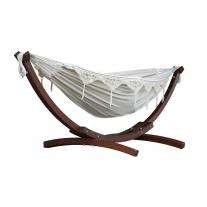 Combo - Dubbele katoenen hangmat met dennenhout boogstandaard (250cm)