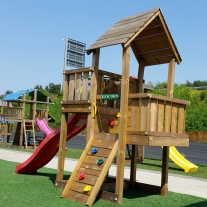 Cubby + Slide 'Star' 3.00m/1.50m Red