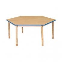 Zeshoekige tafel blauwe rand